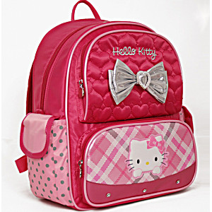 Школьный ранец-рюкзак Sanrio Hello Kitty MA07P (0-3 класс, 15 литр) с тележкой на колесах + сумка для сменной обуви
