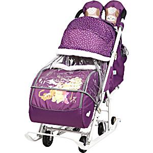 Санки коляска Ника Disney Baby 2 Винни Пух Баклажановый